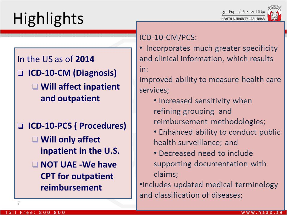 Highlights In the US as of 2014 ICD-10-CM (Diagnosis)