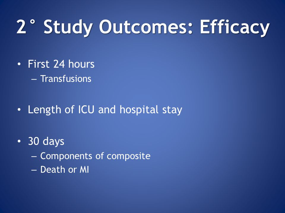 2° Study Outcomes: Efficacy