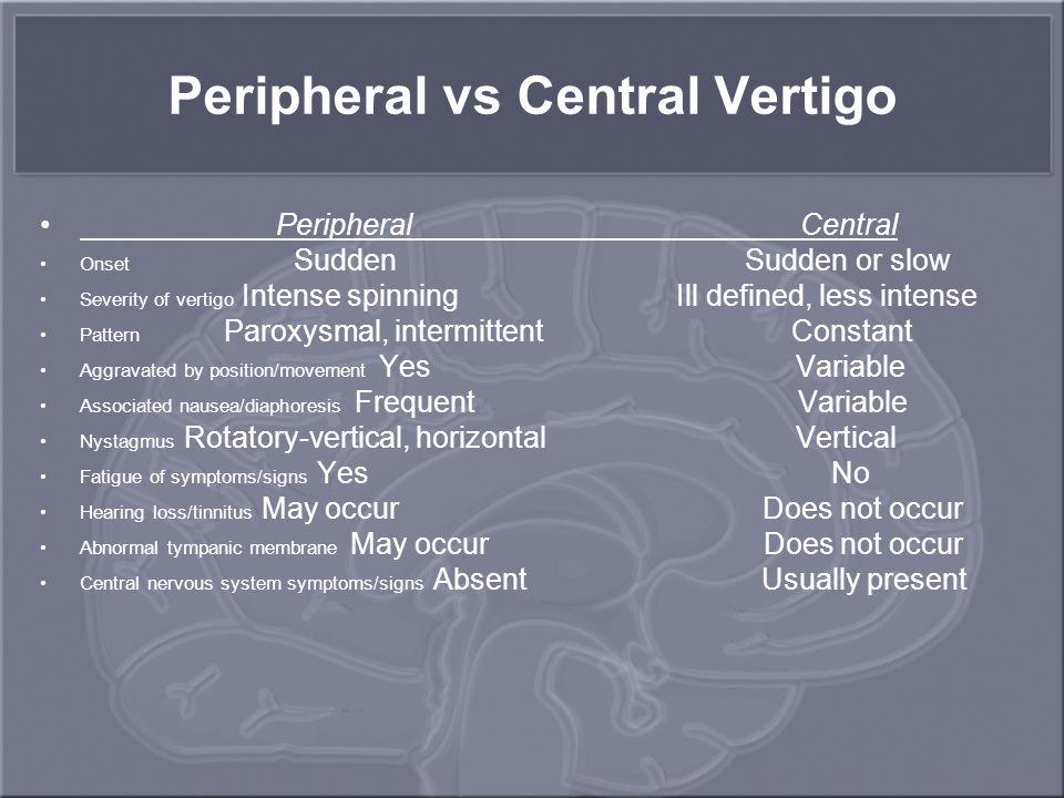Peripheral vs Central Vertigo