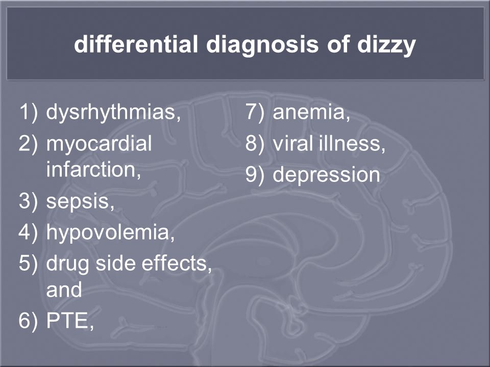 differential diagnosis of dizzy