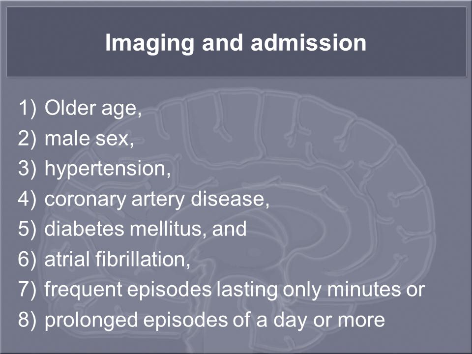 Imaging and admission Older age, male sex, hypertension,