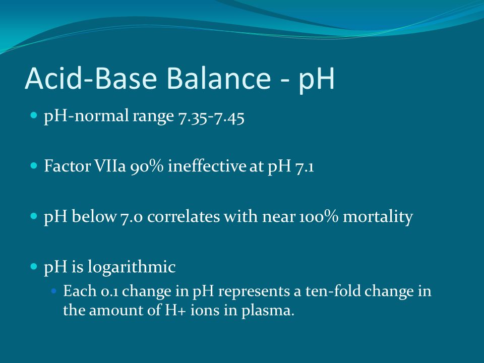 Acid-Base Balance - pH pH-normal range 7.35-7.45