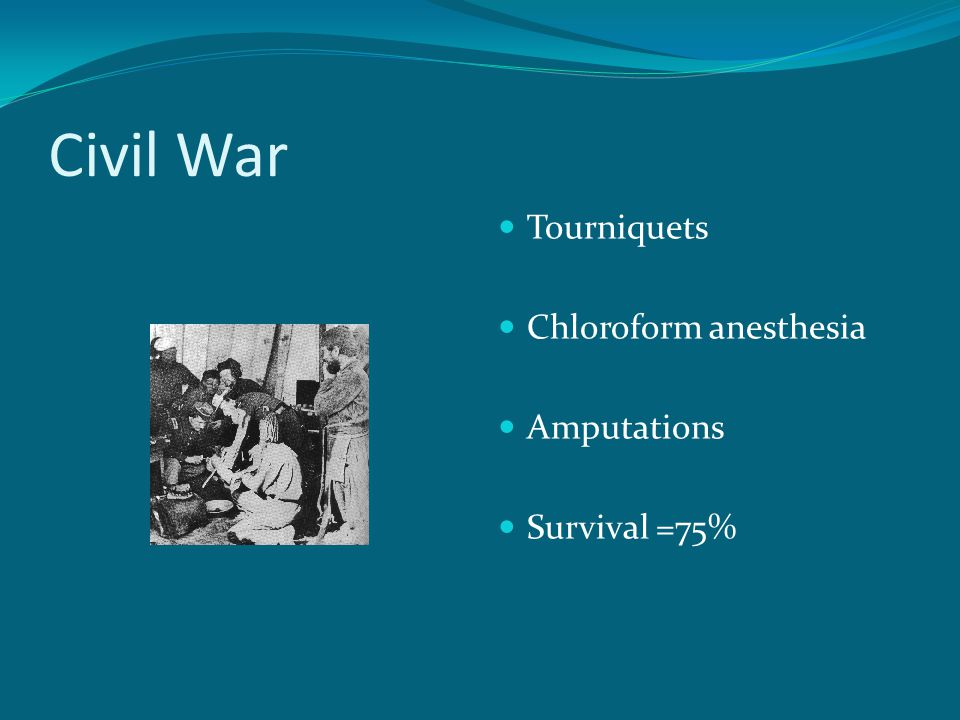 Civil War Tourniquets Chloroform anesthesia Amputations Survival =75%