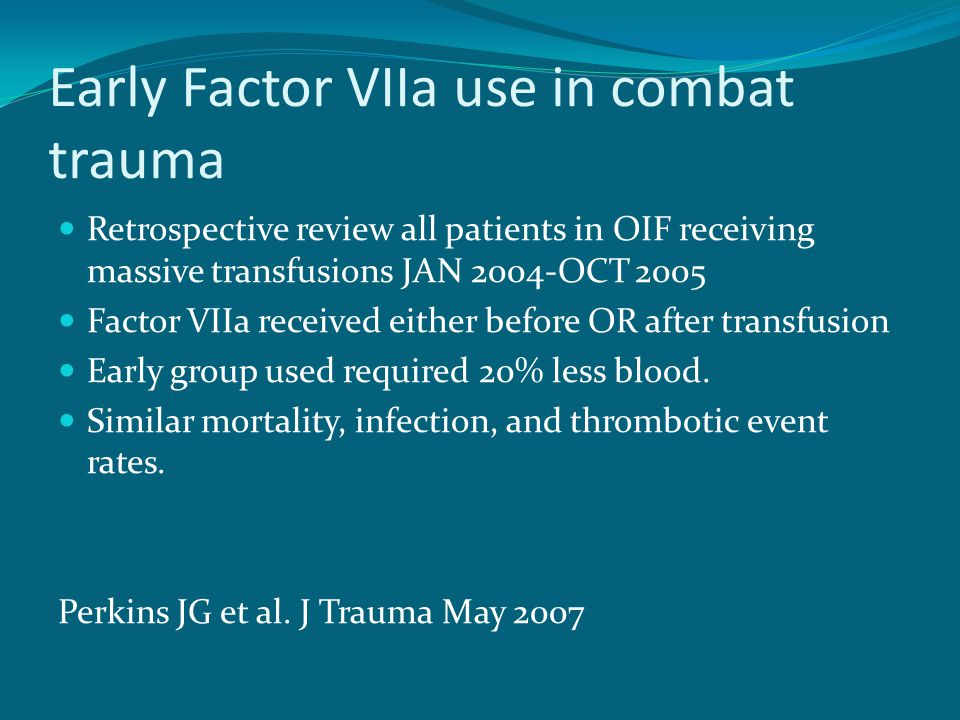 Early Factor VIIa use in combat trauma
