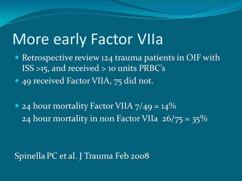 More early Factor VIIa Retrospective review 124 trauma patients in OIF with ISS >15, and received > 10 units PRBC's.