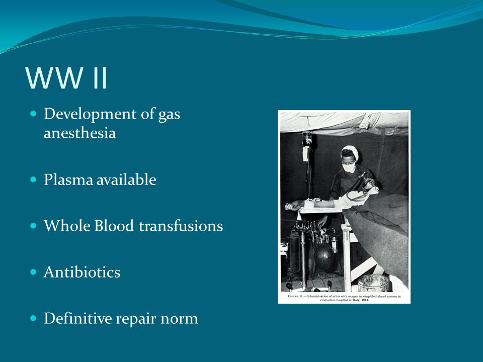 WW II Development of gas anesthesia Plasma available