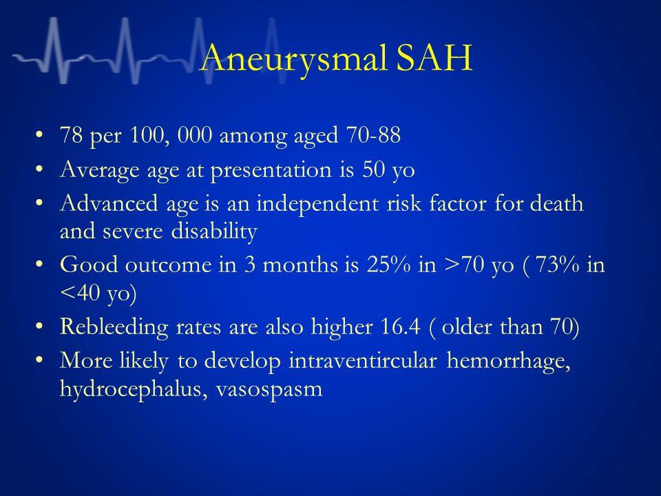 Aneurysmal SAH 78 per 100, 000 among aged 70-88