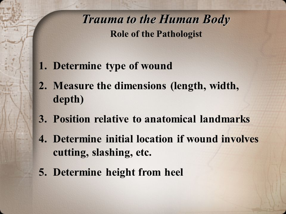 Trauma to the Human Body