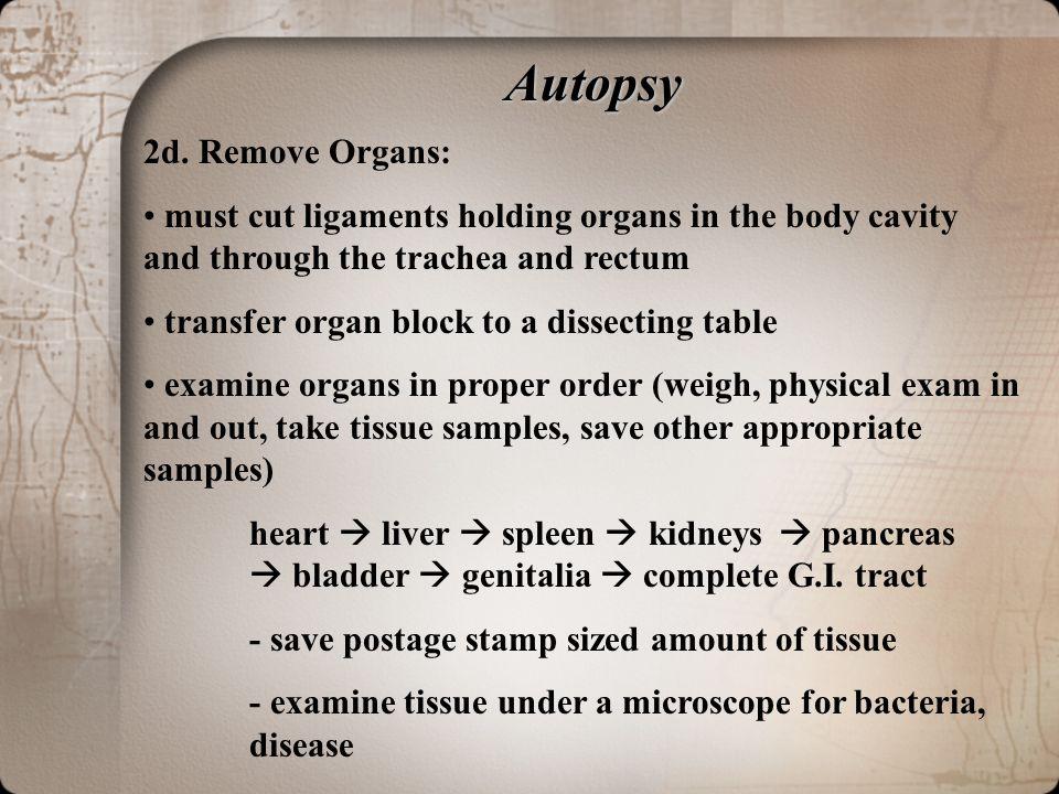 Autopsy 2d. Remove Organs: