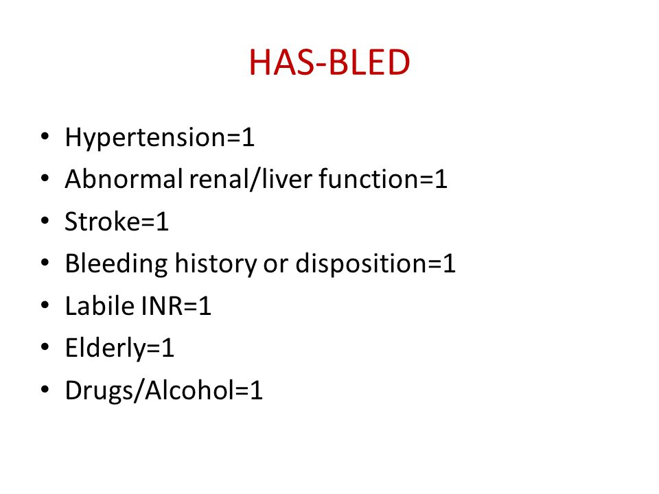 HAS-BLED Hypertension=1 Abnormal renal/liver function=1 Stroke=1