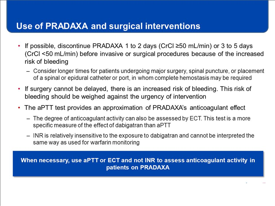 Use of PRADAXA and surgical interventions