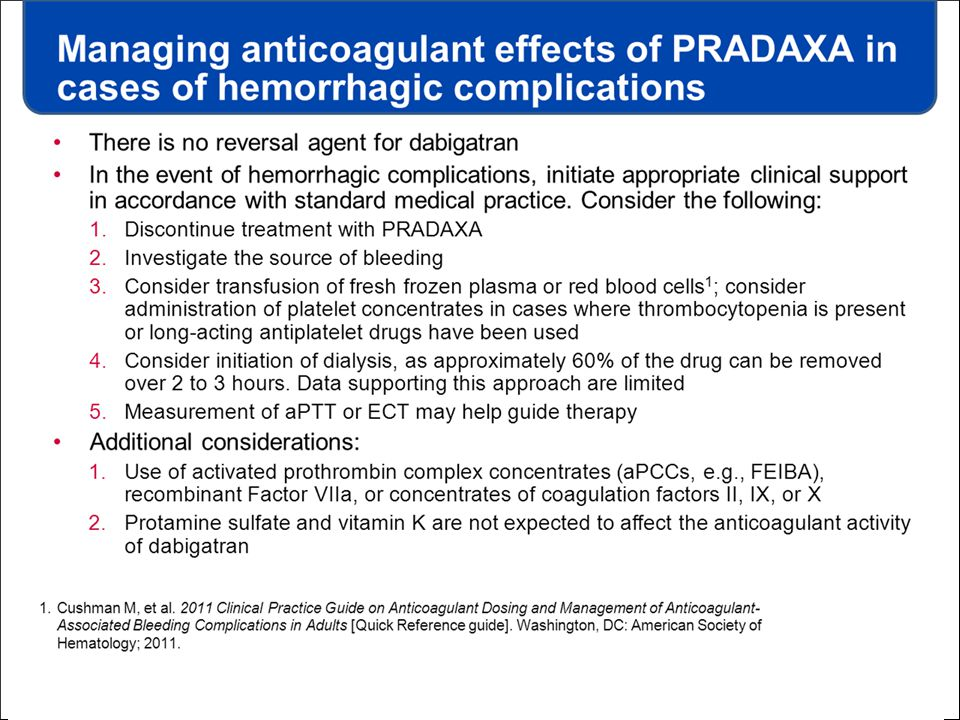 Managing anticoagulant effects of PRADAXA in cases of hemorrhagic complications