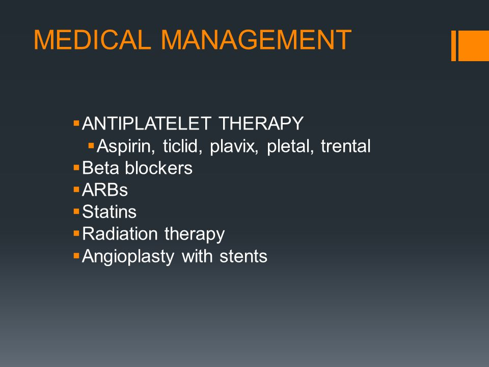 MEDICAL MANAGEMENT ANTIPLATELET THERAPY