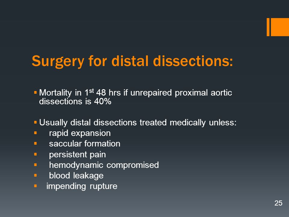 Surgery for distal dissections: