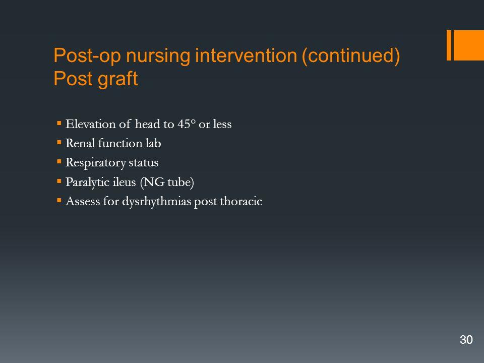 Post-op nursing intervention (continued) Post graft
