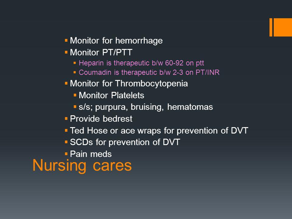 Nursing cares Monitor for hemorrhage Monitor PT/PTT