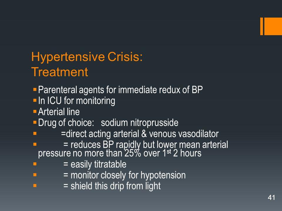 Hypertensive Crisis: Treatment
