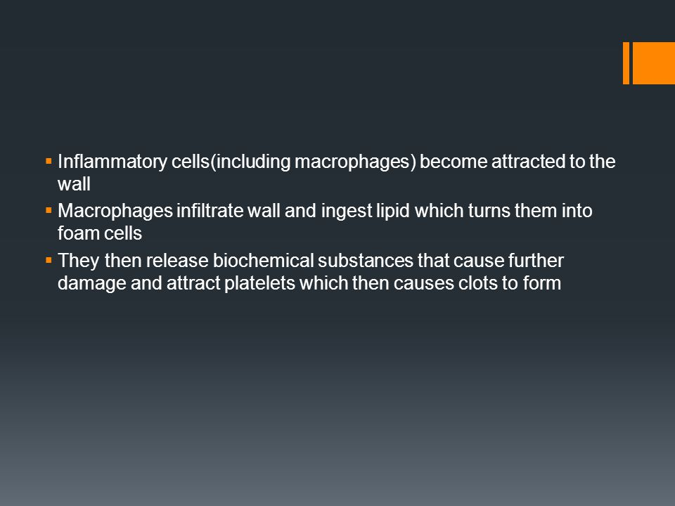 Inflammatory cells(including macrophages) become attracted to the wall