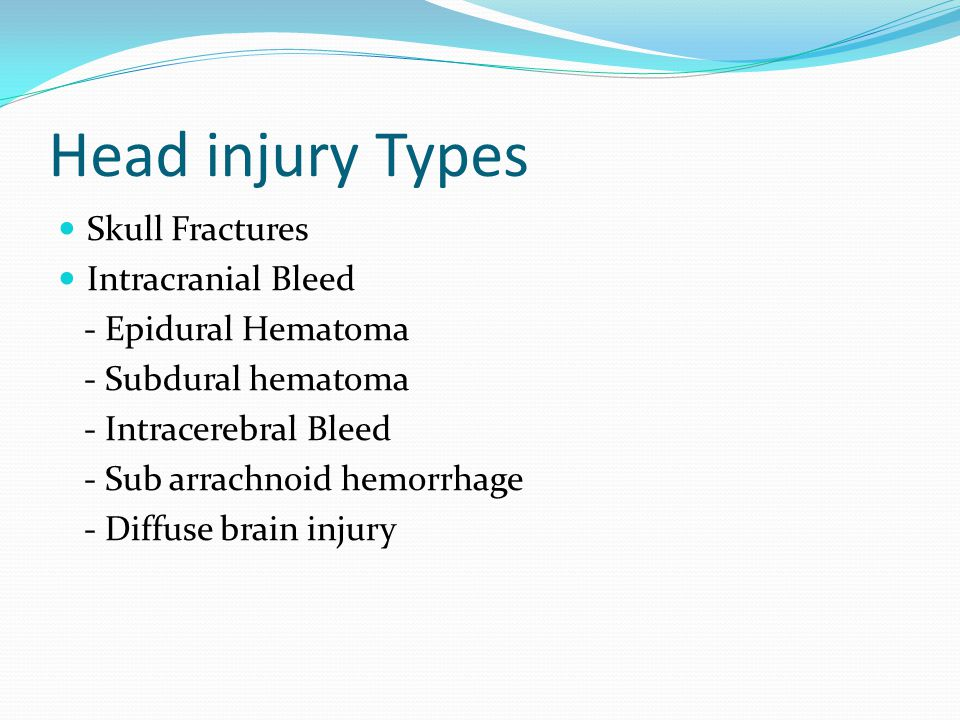 Head injury Types Skull Fractures Intracranial Bleed