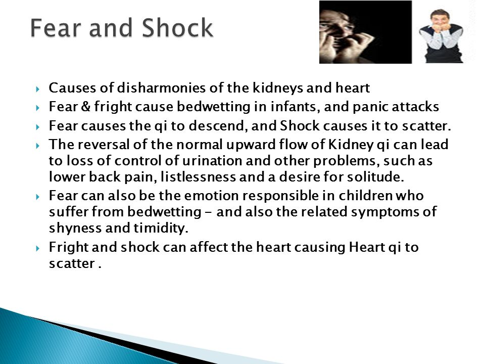 Fear and Shock Causes of disharmonies of the kidneys and heart