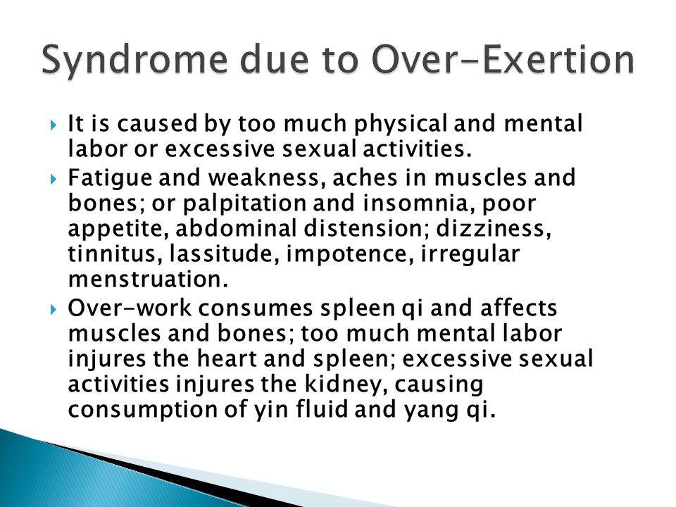 Syndrome due to Over-Exertion