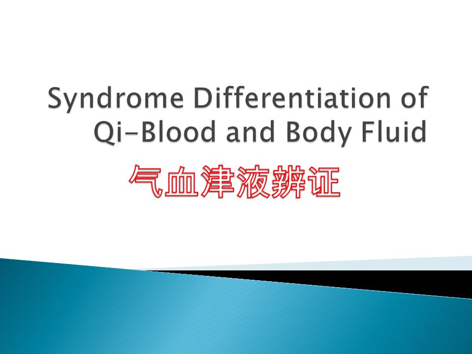 Syndrome Differentiation of Qi-Blood and Body Fluid