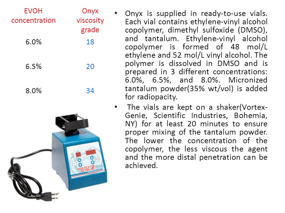 EVOH concentration. Onyx viscosity grade. 6.0% 18. 6.5% 20. 8.0% 34.