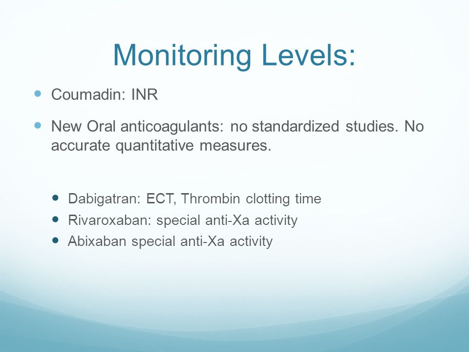 Monitoring Levels: Coumadin: INR
