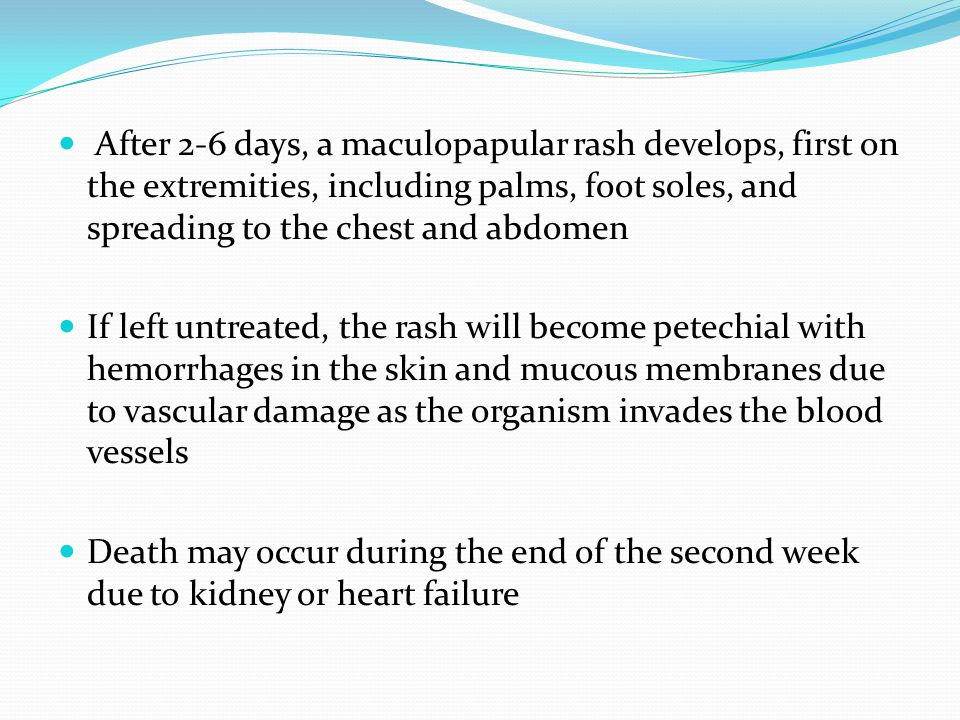 After 2-6 days, a maculopapular rash develops, first on the extremities, including palms, foot soles, and spreading to the chest and abdomen