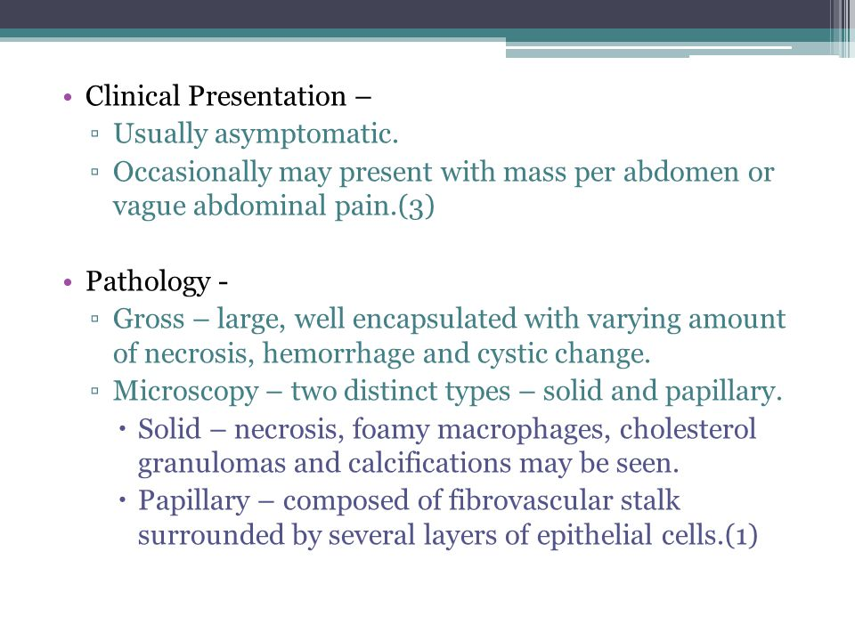 Clinical Presentation –