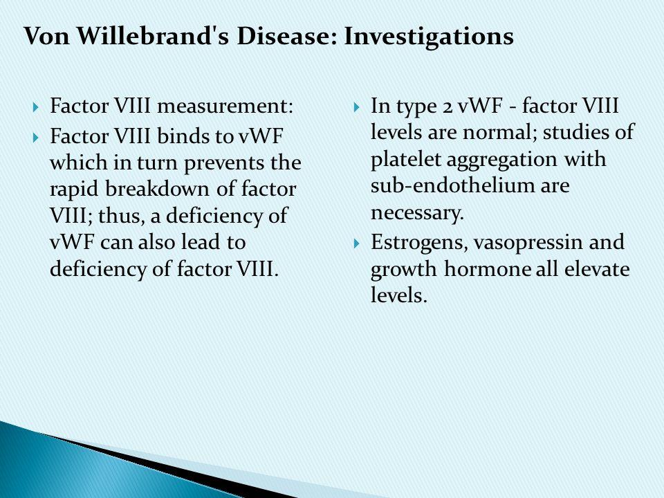 Von Willebrand s Disease: Investigations