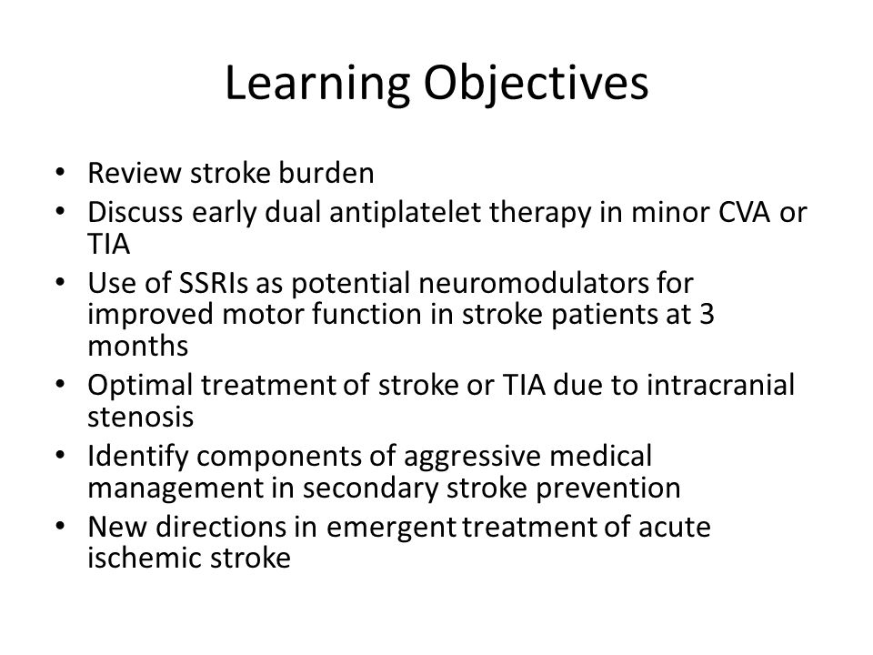 Learning Objectives Review stroke burden