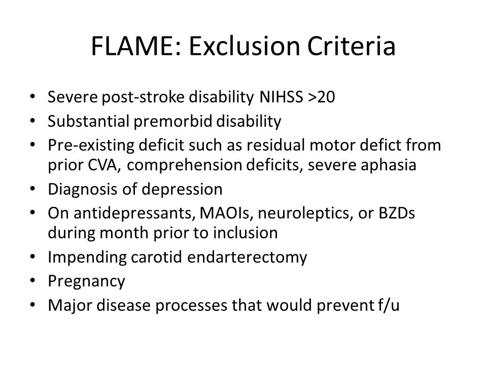 FLAME: Exclusion Criteria
