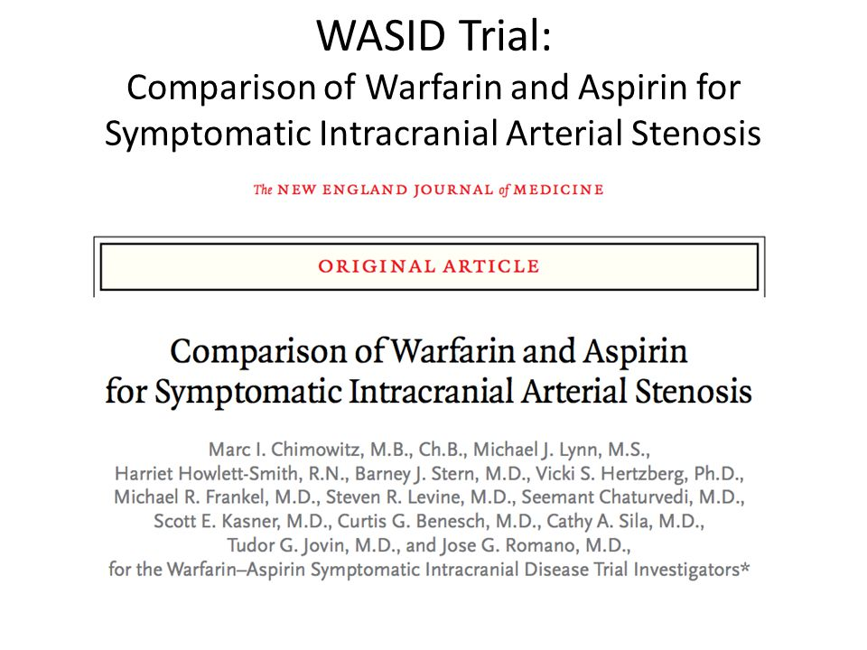 WASID Trial: Comparison of Warfarin and Aspirin for Symptomatic Intracranial Arterial Stenosis