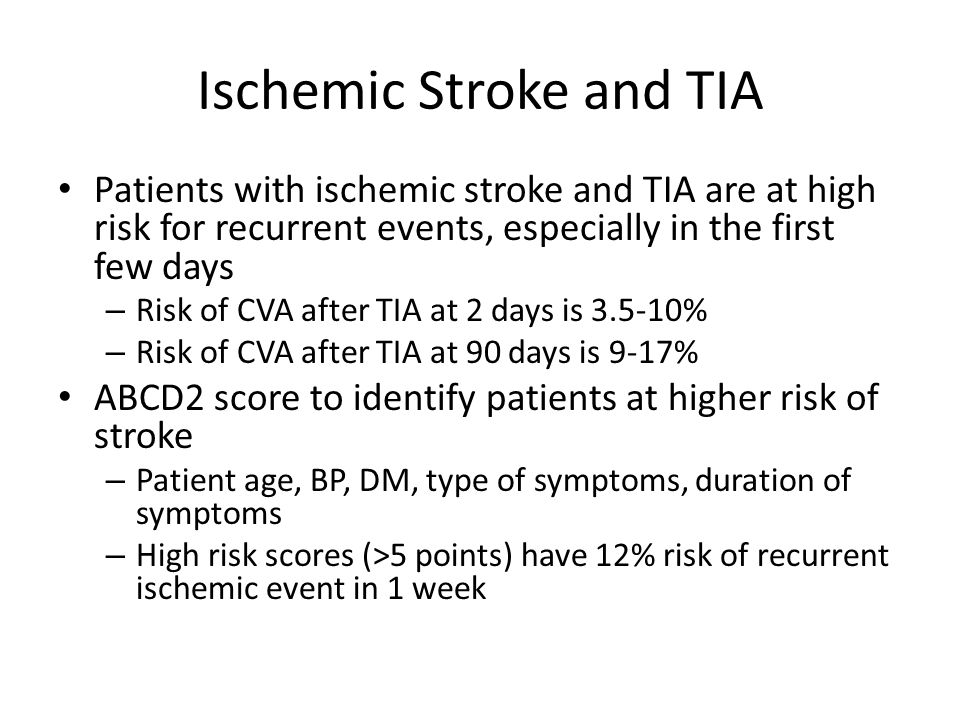 Ischemic Stroke and TIA
