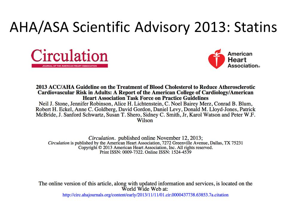 AHA/ASA Scientific Advisory 2013: Statins