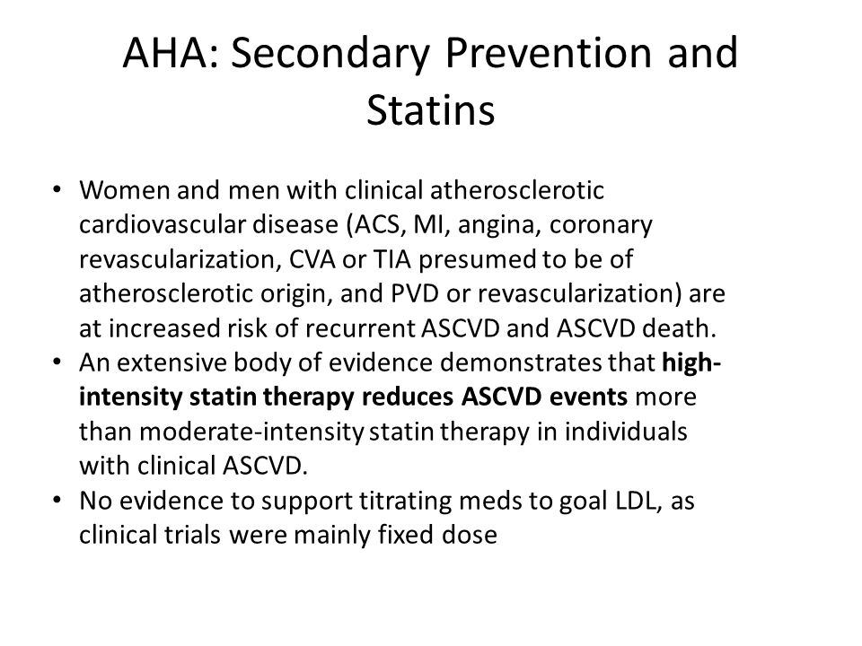 AHA: Secondary Prevention and Statins