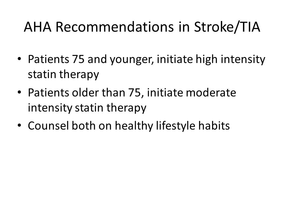 AHA Recommendations in Stroke/TIA