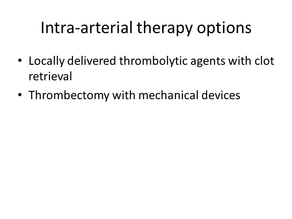 Intra-arterial therapy options