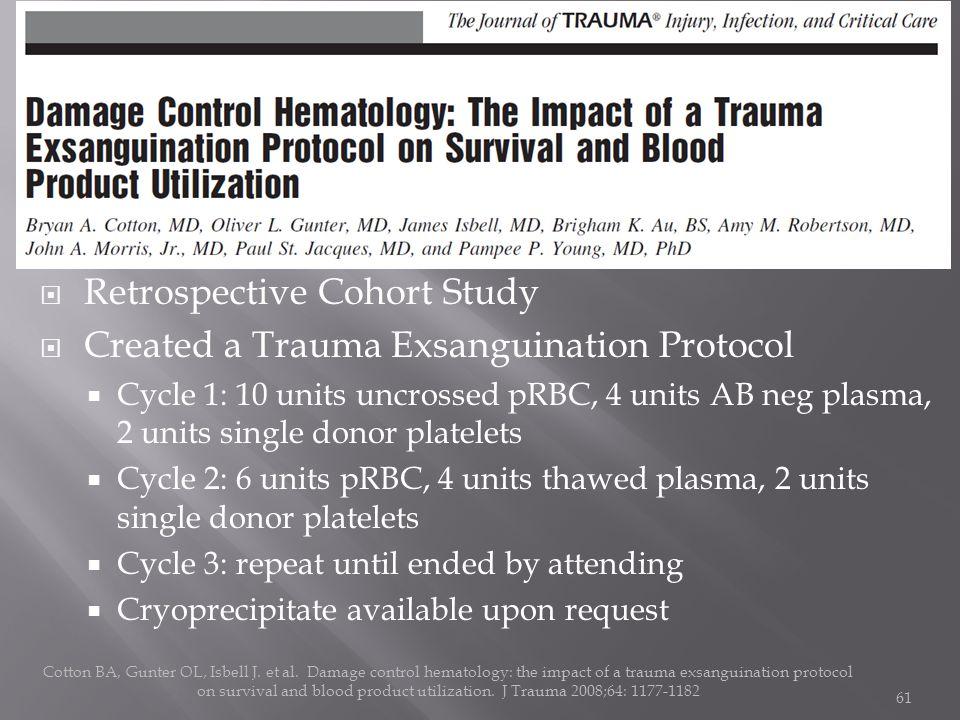 Retrospective Cohort Study Created a Trauma Exsanguination Protocol