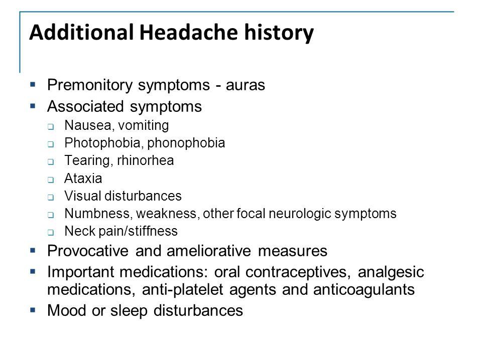 Additional Headache history