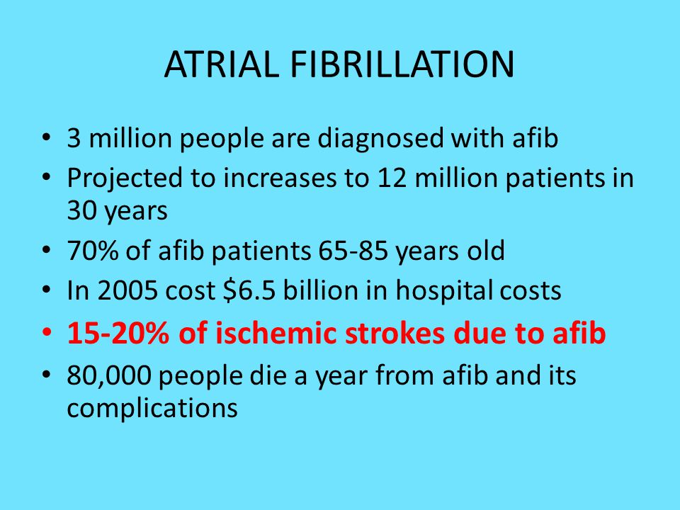 ATRIAL FIBRILLATION 15-20% of ischemic strokes due to afib