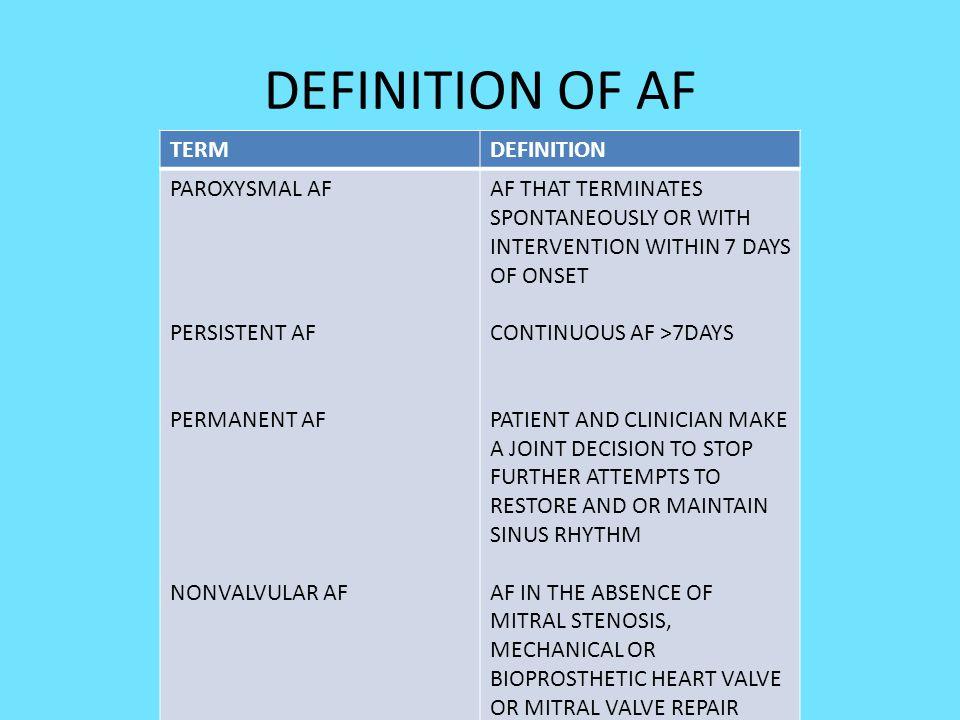 DEFINITION OF AF TERM DEFINITION PAROXYSMAL AF PERSISTENT AF