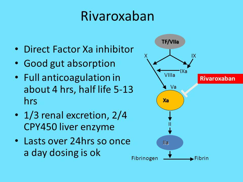 Rivaroxaban Direct Factor Xa inhibitor Good gut absorption