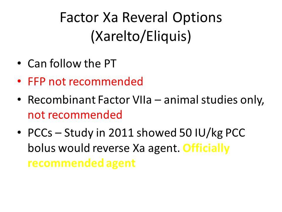 Factor Xa Reveral Options (Xarelto/Eliquis)
