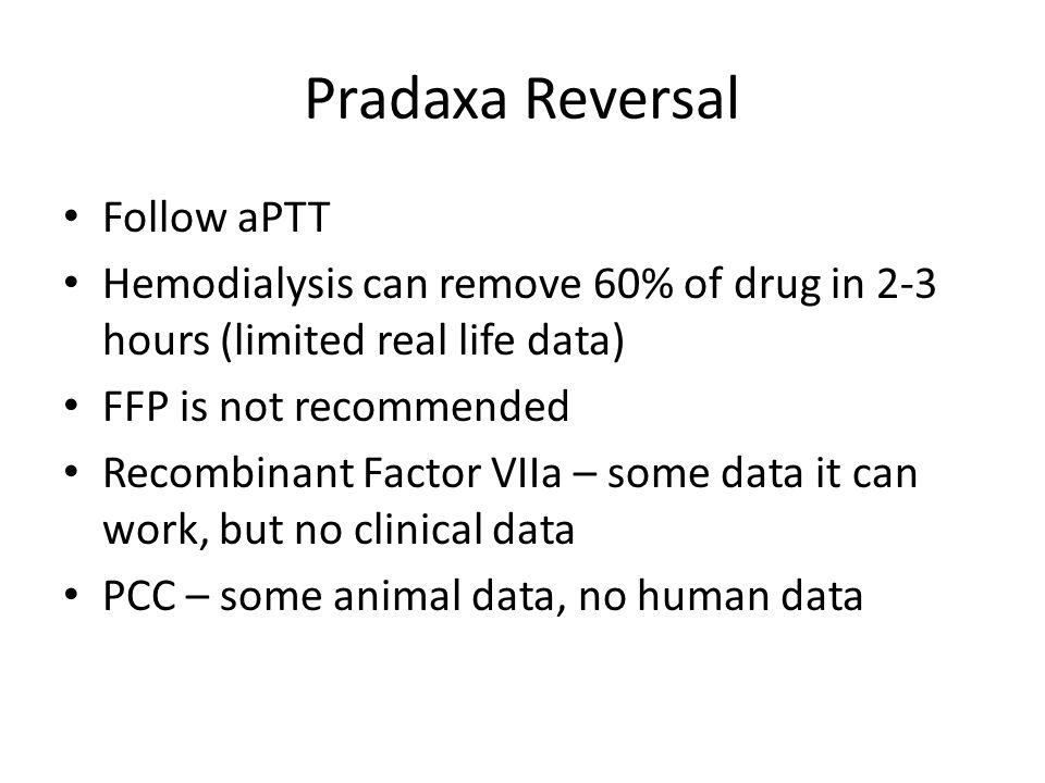 Pradaxa Reversal Follow aPTT