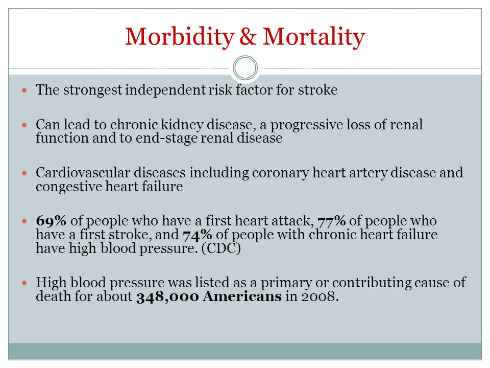 Morbidity & Mortality The strongest independent risk factor for stroke