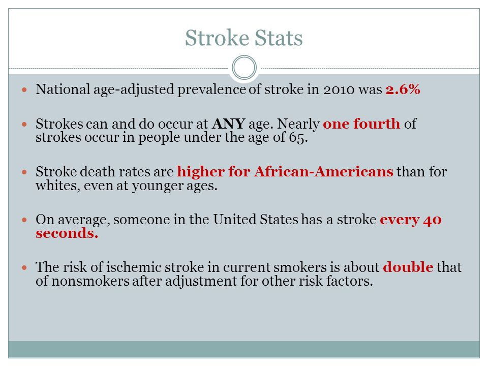 Stroke Stats National age-adjusted prevalence of stroke in 2010 was 2.6%