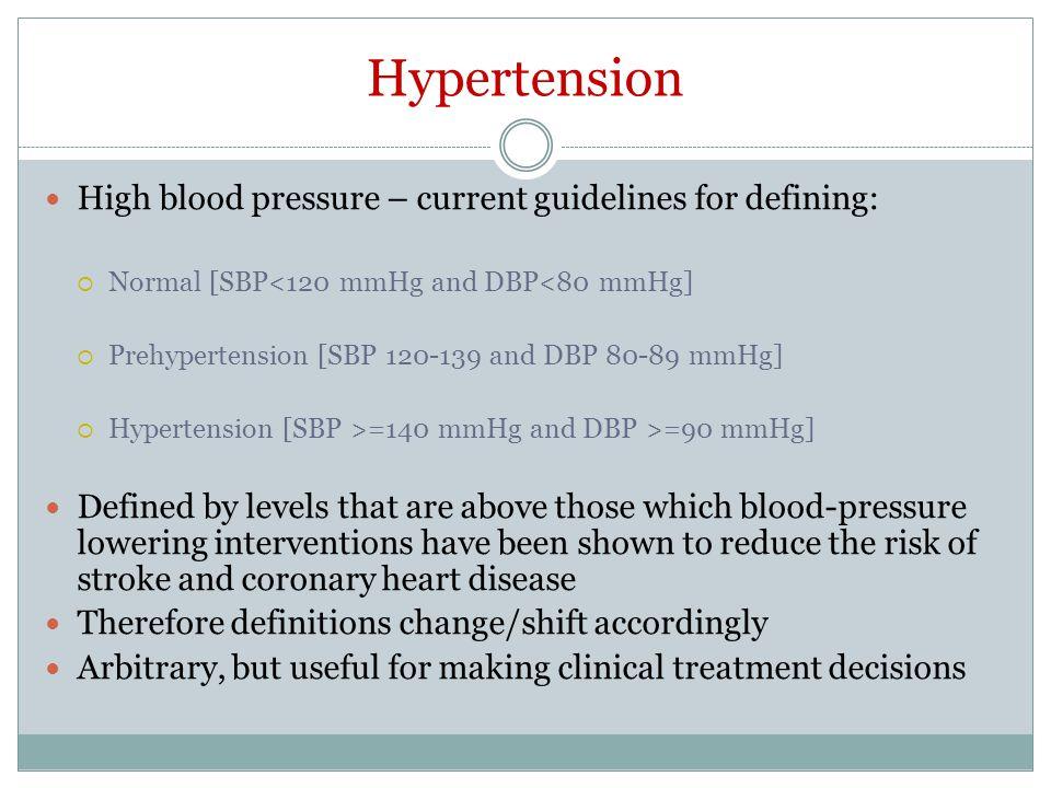 Hypertension High blood pressure – current guidelines for defining: