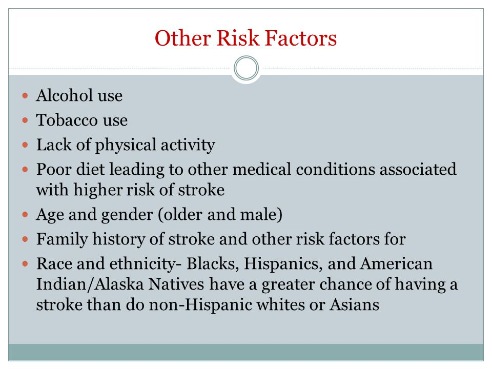 Other Risk Factors Alcohol use Tobacco use Lack of physical activity